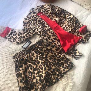 Nasty Gal Jackets & Coats - Leopard Blazer/Shorts set